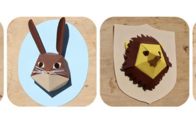 Des trophées d'animaux en papier coloré